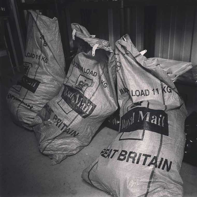 Mail sacks full of orders